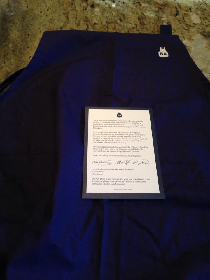 Blue Apron sent me a blue apron for being a long-time customer!