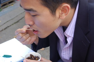 Peter eating bundegi in 2006