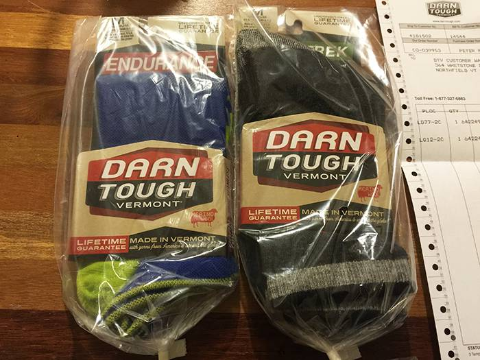 Darn Tough replacement socks via warranty.