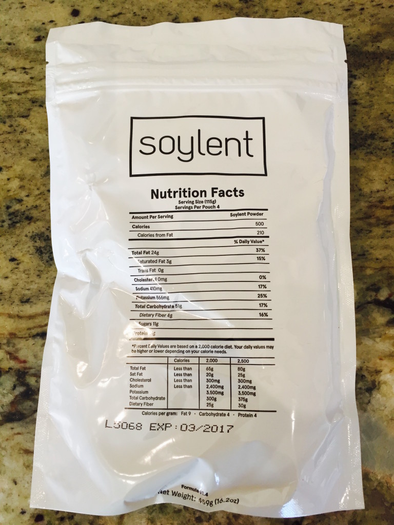 Nutrition facts for Soylent 1.4